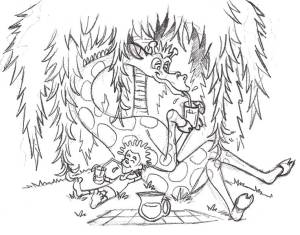 pg04_under_tree sketch for hippo